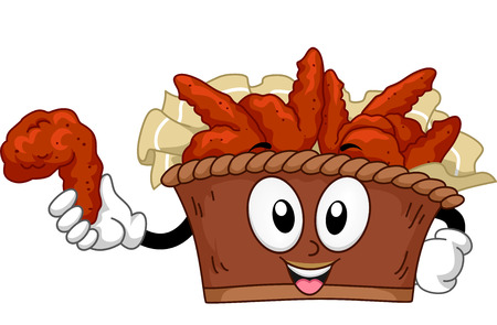 chicken wing: Mascot Illustration of a Bucket of Buffalo Wings