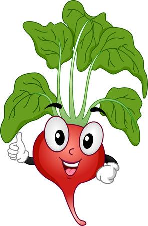 Mascot Illustration of a Radish Giving a Thumbs Up