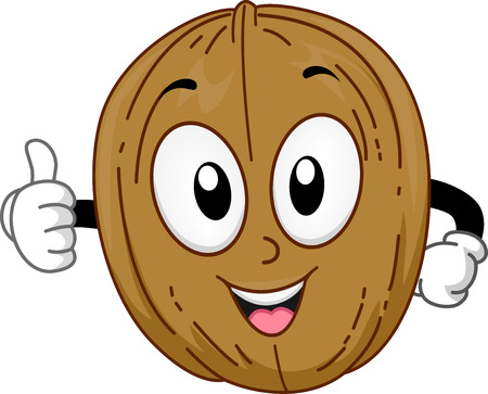 Mascot Illustration of a Walnut Giving a Thumbs Up