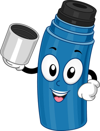 tumbler: Mascot Illustration Featuring a Thermos Holding a Cup