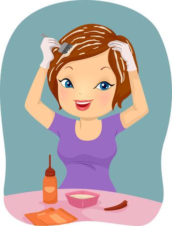 tinte cabello: Ilustración de una chica aplicación del tinte en el pelo Foto de archivo