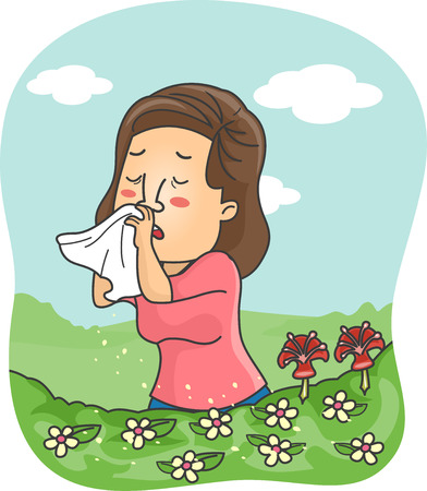colds: Illustration of a Girl Blowing Her Nose After the Pollen Triggered an Allergic Reaction Stock Photo