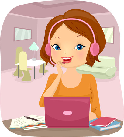 tertiary: Illustration of a Girl Studying Her Lessons Online Stock Photo