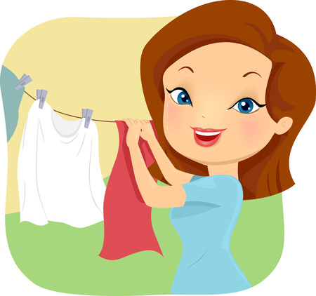 hanging out: Illustration of a Girl Hanging Clothes Out to Dry Stock Photo