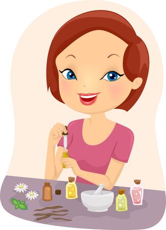 aceites: Ilustraci�n de una ni�a mezcla de aceites esenciales