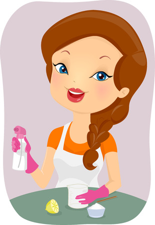Illustration of a Girl Making an Organic Household Cleaner