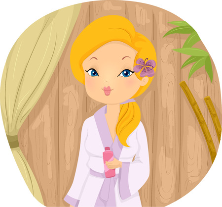 pamper: Illustration of a Girl in a Spa Wearing a Standard Bathrobe and a Piece of Flower on Her Ear Stock Photo