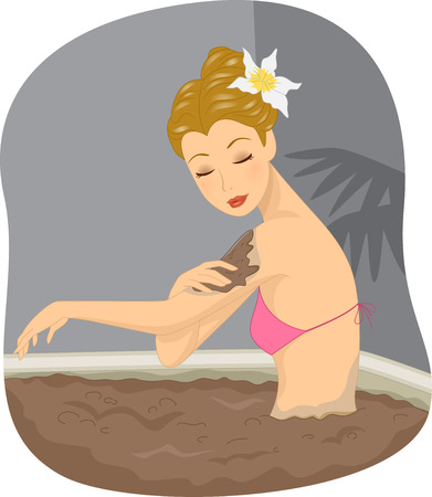 soaking: Illustration of a Girl Soaking in a Mud Bath in a Spa