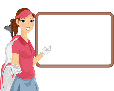 caddy: Illustration of a Female Caddy Gesturing To a Blank White Board