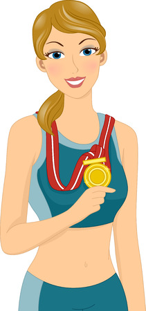 achievement clip art: Illustration of a Female Athlete Wearing a Gold Medal Stock Photo