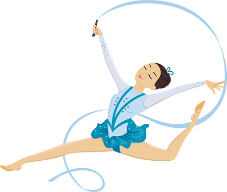 stunts: Illustration of a Female Gymnast Performing a Ribbon Twirling Stunt Stock Photo