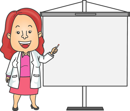 lab coat: Illustration of a Doctor in a Lab Coat Giving a Presentation