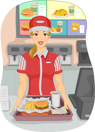 Illustration of a Female Cashier at a Fast Food Restaurant