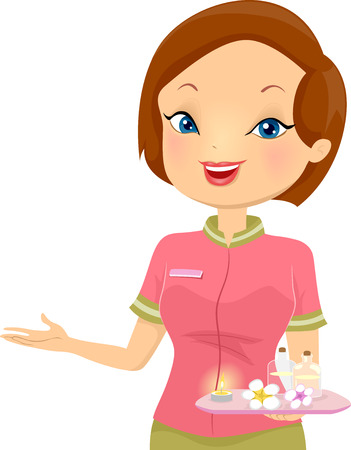 masseuse: Illustration of a Female Receptionist at a Spa Stock Photo