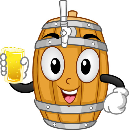 cartoonize: Mascot Illustration of a Beer Keg Holding a Glass of Beer