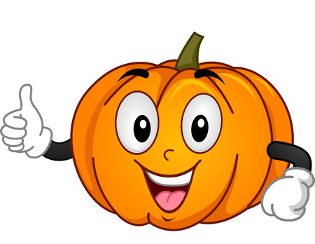 Mascot Illustration of a Pumpkin Giving a Thumbs Up Stock Photo