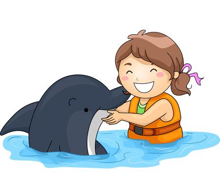 dauphin: Illustration d'une petite fille Heureusement Jouer avec un dauphin