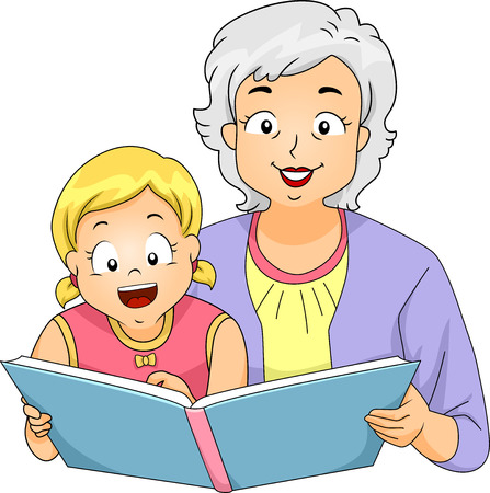 kid cartoon: Illustration of a Grandmother Reading to Her Granddaughter