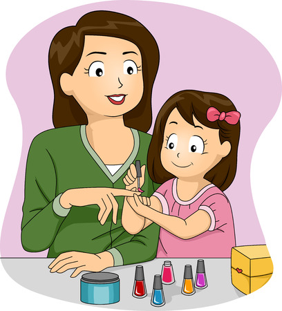 letting: Illustration of a Mother Letting Her Daughter Apply Nail Polish on Her Nails
