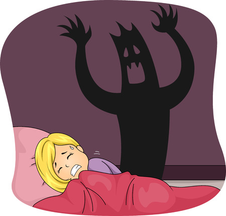 Illustration of a Little Girl Having a Nightmare While Sleeping Stock Photo