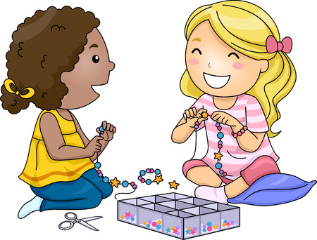 cartoon human: Illustration of Little Girls Making Accessories With Colorful Beads Stock Photo