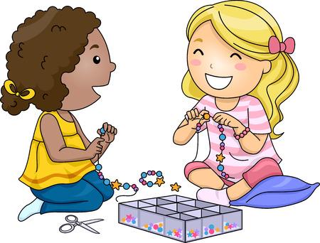 niños jugando caricatura: Ilustración de Niñas que accesorios con cuentas de colores