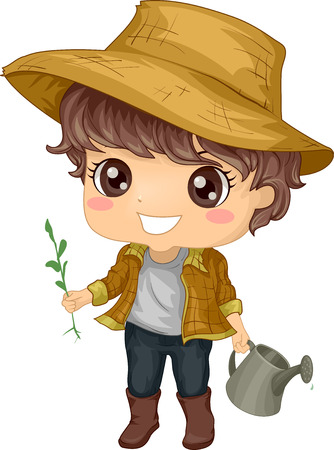 Illustration of a Little Boy Tending to His Garden illustration