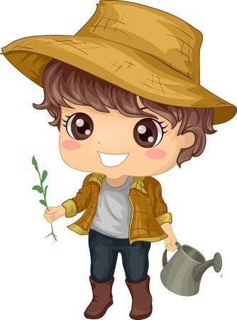 tending: Illustration of a Little Boy Tending to His Garden