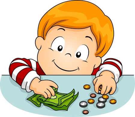 banco dinero: Ilustraci�n de un ni�o que pone dinero sobre la mesa