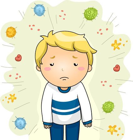 niños enfermos: Ilustración de un niño enfermo, rodeado de diversas cepas de virus