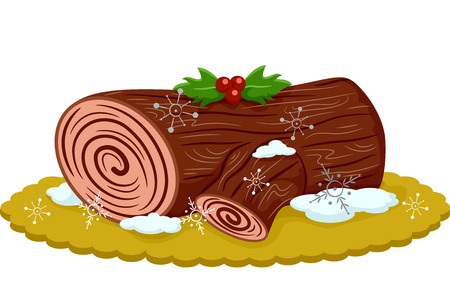 patisserie: Illustration of an Appetizing Yule Log Topped With Berries Stock Photo