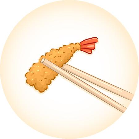 chopsticks: Illustration of a Pair of Chopsticks Holding a Piece of Tempura