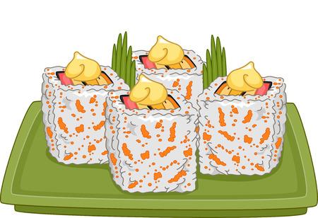 maki: Illustration of a Platter Full of Appetizing California Maki