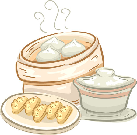 buns: Illustration of a Plate of Dimsum and a Container Full of Meat Buns Stock Photo