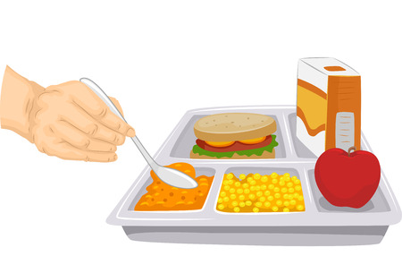 food tray: Cropped Illustration of a Person Scooping Out a Portion of a Food From a Balanced Meal Stock Photo