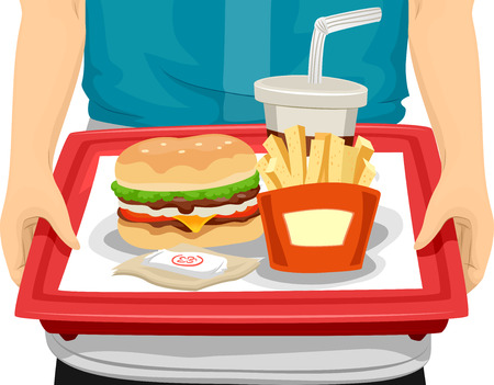 cropped: Cropped Illustration of a Person Carrying a Tray Filled With Fast Food