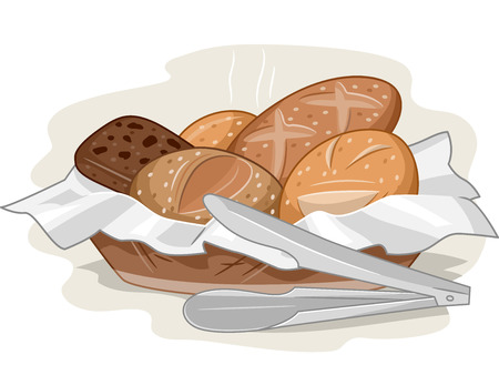 bread basket: Illustration of a Basket Full of Bread Fresh Off the Oven Stock Photo
