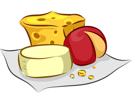 swiss cheese: Illustration of Different Types of Cheese Sitting on a Piece of Cloth