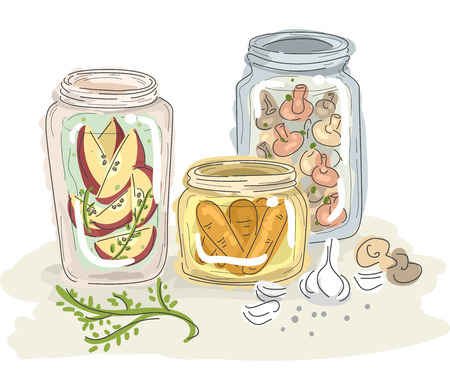 sketchy illustration: Sketchy Illustration of Fruits and Vegetables Preserved in Jars