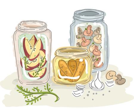 pickled: Sketchy Illustration of Fruits and Vegetables Preserved in Jars