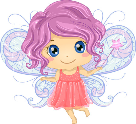 pixie: Illustration of a Cute Little Girl Dressed as a Fairy