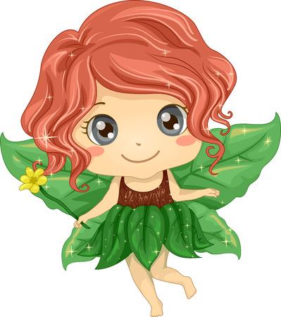 Illustratie van een Cute Little Girl draagt een Kostuum van de Fee gemaakt van bladeren