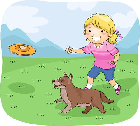 fetch: Illustration of a Little Girl Playing Frisbee With Her Pet Dog
