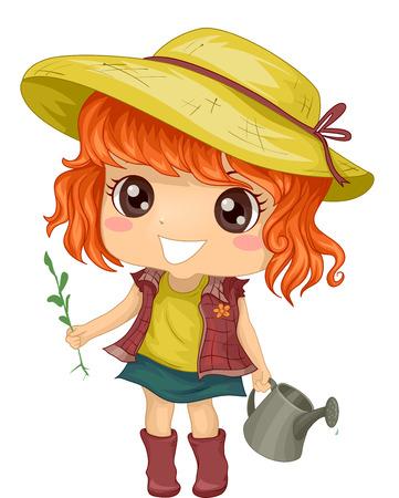 Illustration of a Little Girl Tending to Her Garden illustration