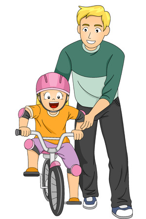 dad and daughter: Illustration of a Father Teaching His Daughter How to Ride a Bike