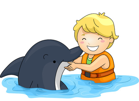 oceanarium: Illustration of a Little Boy Playing With a Dolphin
