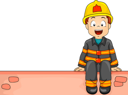 role play: Illustration of a Little Boy Dressed as a Firefighter Sitting on a Brick Wall Stock Photo
