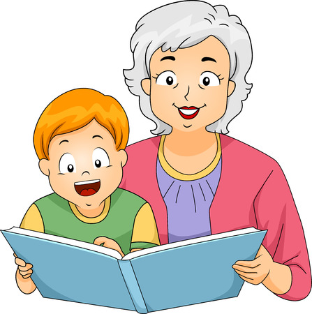 grandchild: Illustration of a Grandmother Reading a Book to Her Grandson