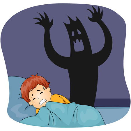 Illustration of a Little Boy Having a Nightmare While Sleeping 版權商用圖片