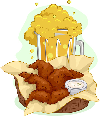chicken wings: Illustration of a Mug Overflowing With Beer and a Basket Full of Buffalo Wings Stock Photo